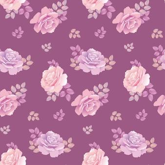 Wzór róży na fioletowym tle