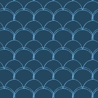 Wzór rybiej łuski. gad, tekstura skóry smoka. tło dla tkaniny, wzoru tekstylnego, papieru pakowego, stroju kąpielowego lub tapety. niebieski ogon syreny z rybią łuską pod wodą.