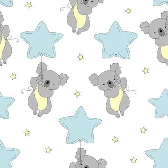 Wzór semless z cute koala i balon