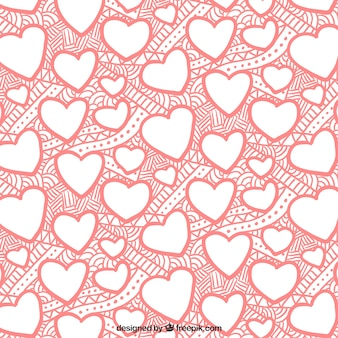 Wzór serca i wyciągnąć rękę abstrakcyjnych kształtów