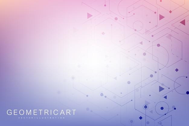 Wzór sieci naukowej, linie łączące i kropki. nowoczesna futurystyczna struktura cząsteczki wirtualnego abstrakcyjnego tła dla medycyny, technologii, chemii, nauki. naukowy sześciokątny.