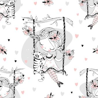 Wzór. śliczna dziewczyna z warkoczykami huśta się na huśtawce ze swoim kotem. wektor.