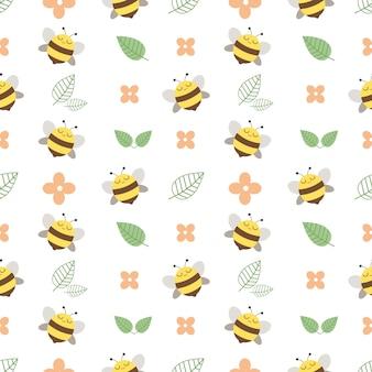 Wzór śliczna pszczoła i kwiat i opuszczać na bielu