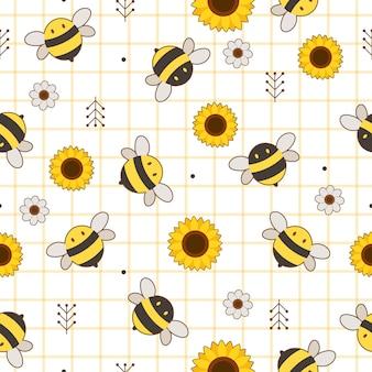Wzór śliczna pszczoła i słonecznik
