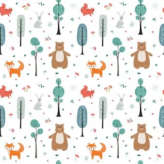 Wzór. śliczne zwierzęta na tle lasu, drzew, roślin. niedźwiedź, lis, wiewiórka, zając. zwierzęta leśne. ilustracje w stylu skandynawskim