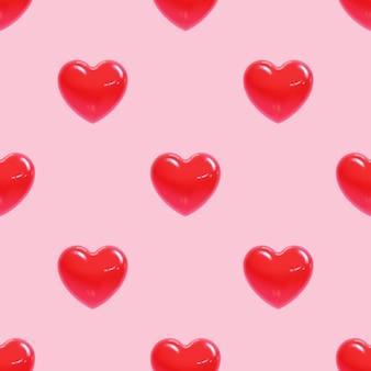 Wzór ślicznych czerwonych serc na walentynki w realistycznym stylu. ilustracja wektorowa.