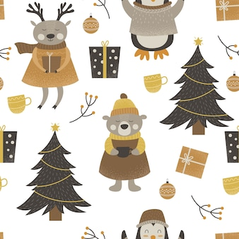 Wzór ślicznych zwierząt leśnych wesołych świąt