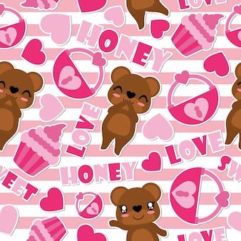 Wzór słodki niedźwiedź i miłość elementy na pasiastym tle