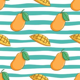 Wzór Słodkie Mango Z Kolorowym Stylu Bazgroły Premium Wektorów