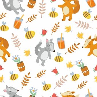 Wzór słodkie zwierzęta. lis i wilk. liście, rośliny, pszczoły.