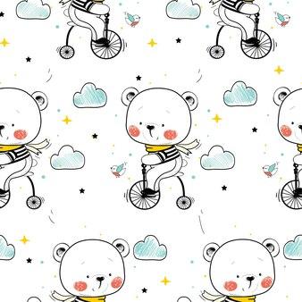 Wzór słodkiego misia na rowerzekreskówka ręcznie rysowane ilustracji wektorowych