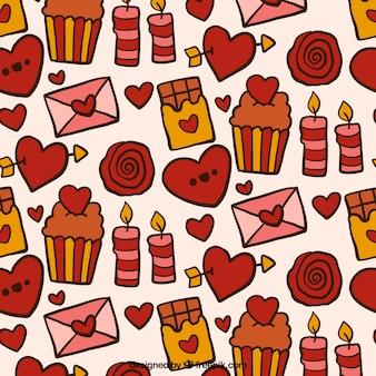 Wzór słodyczy i ręcznie rysowanych elementów miłosnych