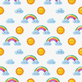Wzór słońce, tęcza i chmury. kawaii tapeta na białym tle. słodkie pastelowe kolory dla dzieci. śmieszne twarze kreskówek.