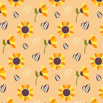 Wzór słonecznika w odcieniach brzoskwini