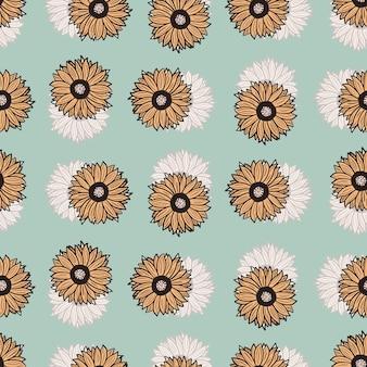 Wzór słoneczniki niebieskie tło. piękna tekstura z kolorowym słonecznikiem i liśćmi.