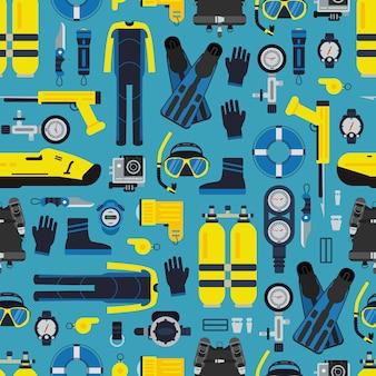 Wzór sprzętu do nurkowania podwodnego lub w stylu płaskim