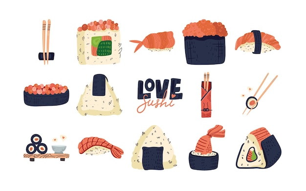 Wzór sushi. kolekcja japońskiego jedzenia w tle
