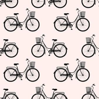 Wzór sylwetki roweru klasycznego kobiet, ekologiczny transport sportowy na różowym tle.