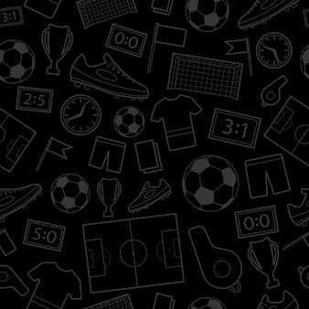 Wzór symboli piłki nożnej, szary na czarnym