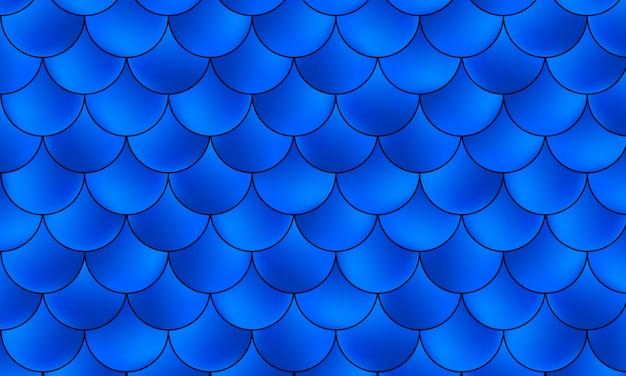 Wzór syreny kawaii. łuska ryb niebieski kolor. .