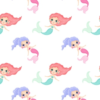 Wzór syreny kreskówka. podwodny wzór. wzór oceanu. bajkowy wzór.