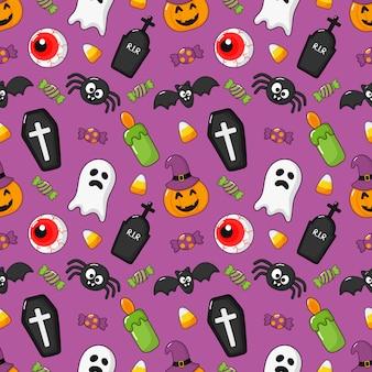 Wzór szczęśliwy halloween ikony na fioletowym tle.