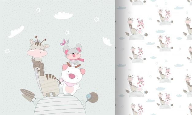 Wzór szczęśliwy słodkie zwierzęta