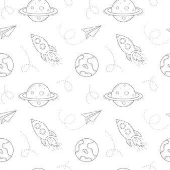 Wzór szkolny ze statkiem kosmicznym, rakietą, planetą, papierowym samolotem. czarne białe tło