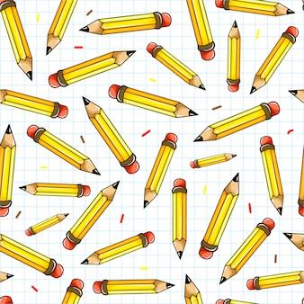 Wzór szkoły bez szwu z ołówkami