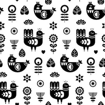 Wzór sztuki ludowej z ptakami i ozdobnymi elementami kwiatowymi
