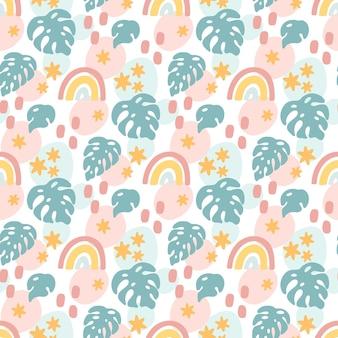 Wzór szwu z tęczowymi gwiazdami i liśćmi palmowymi