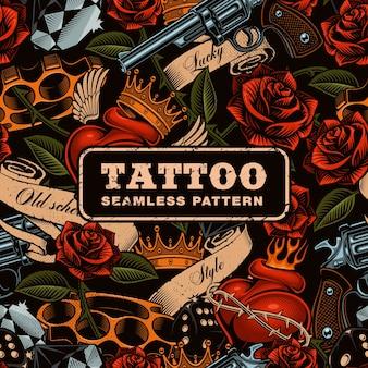 Wzór tatuażu starej szkoły. bezszwowa tekstura dla tekstyliów. tekst znajduje się na osobnej warstwie.
