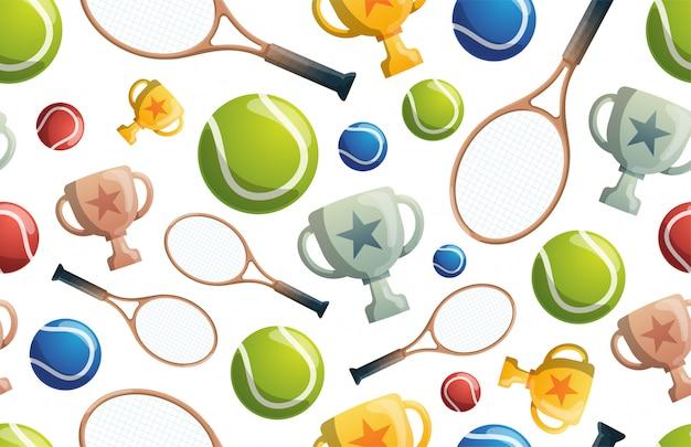 Wzór tenisowy. tenisowy wzór z rakietami, piłkami i filiżankami