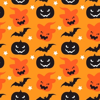 Wzór tła halloween z dyniami i nietoperzami