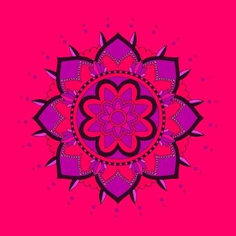 Wzór tła mandali w kolorze czerwonym i fioletowym