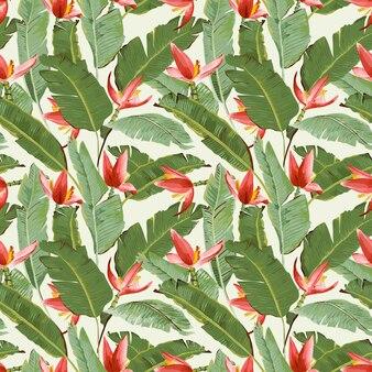 Wzór. tropikalne liście palmowe i kwiaty. liście bananowca. kwiaty bananowe.