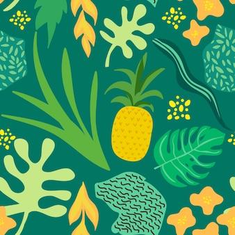 Wzór tropikalnych kwiatów i liści. ananasy retro bezszwowe modne tło stylu memphis. letni projekt przyrody dżungli. ilustracja wektorowa