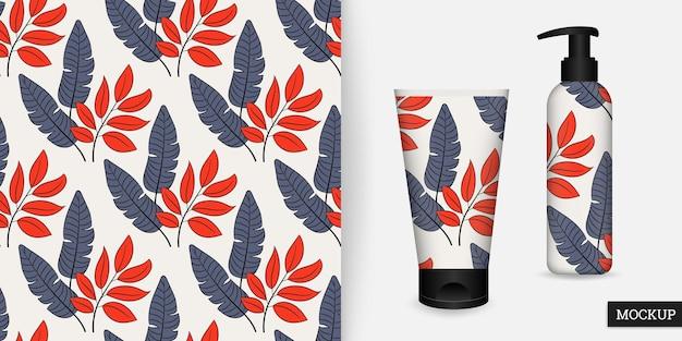Wzór tropikalnych liści w ręcznie rysowane stylu