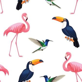Wzór tropikalnych ptaków.