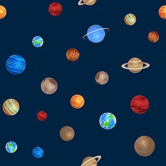 Wzór układu słonecznego. różne kolorowe planety na tle przestrzeni, obiekty astronomii układu słonecznego, galaktyki, kolekcja gwiazd. kreatywne projektowanie tekstyliów, zawijanie, tapeta tekstura wektor
