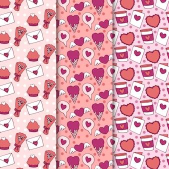 Wzór valentine kwiaty i słodycze