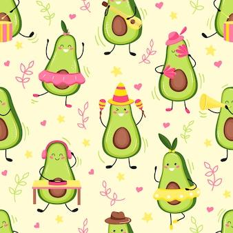 Wzór vof uroczy owoc awokado świętujący wakacje. śliczny owoc awokado kawaii. płaska kreskówka