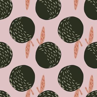 Wzór w bladej palecie z prostymi kształtami jabłka. sylwetki ciemnozielone owoce na tle bzu. płaski nadruk wektorowy na tekstylia, tkaniny, opakowania na prezenty, tapety. niekończąca się ilustracja.