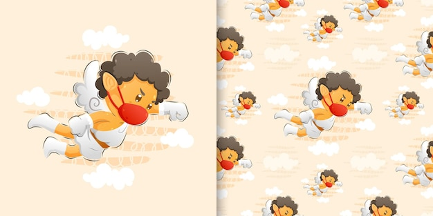 Wzór w kolorze wody ilustracja kupidyna za pomocą maski i rękawiczek ilustracji