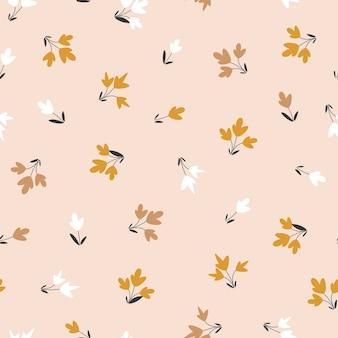 Wzór w kwiatowym stylu. małe kwiaty na jasnym tle. ilustracja wektorowa