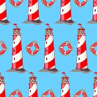 Wzór w paski latarnie morskie i koła ratunkowe