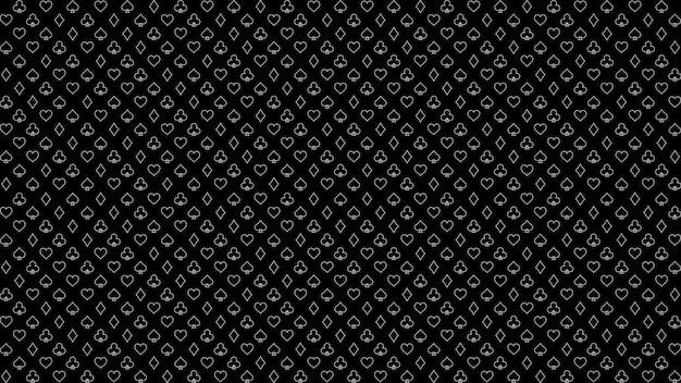 Wzór w pokera i kasyno zarys garnitury w pokera na czarnym tle