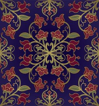 Wzór w stylizowane kwiaty. niebieski ornament kwiatowy.