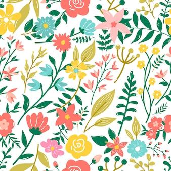 Wzór w stylu bazgroły z kwiatami i liśćmi