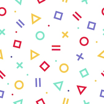 Wzór w stylu memphis. geometryczne tło z białym tłem. tekstura papieru do pakowania w stylu lat 80-90.
